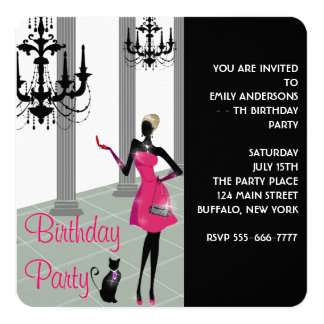 Girls Womans Any Number Birthday Party Card