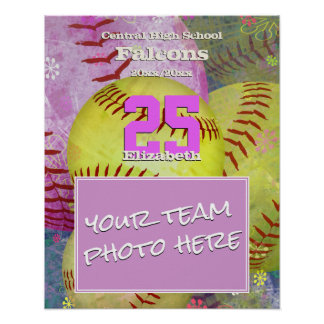 girls' women's add your softball sports team photo poster