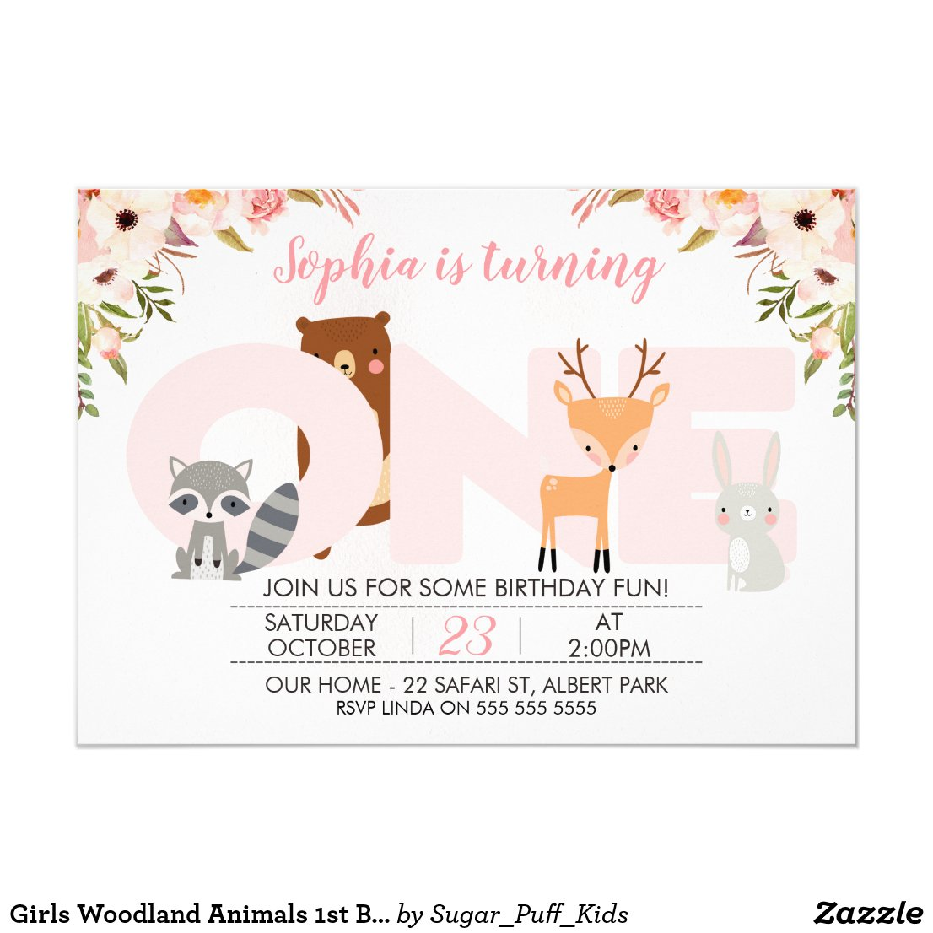 Girls Woodland Animals 1st Birthday Invitation