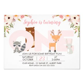 Girls Woodland Animals 1st Birthday Invitation