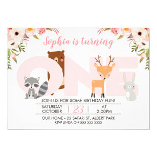 Girl 1st birthday invitations zazzle girls woodland animals 1st birthday invitation filmwisefo