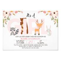 Girls Woodland Animals Baby Shower Invitation