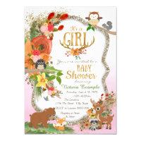 Girls Woodland Antler Baby Shower Card