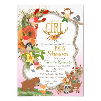 Girls Woodland Antler Baby Shower Card