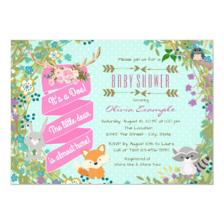 Girls Woodland Baby Shower Card