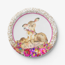 Girls Woodland Deer Baby Shower Paper Plates