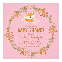 Girls Woodland Fox Baby Shower Invitation