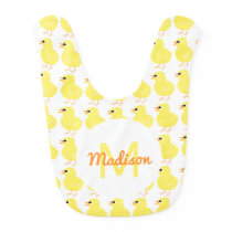 Girls Yellow Chick Pattern Animal Monogrammed Cute Baby Bib