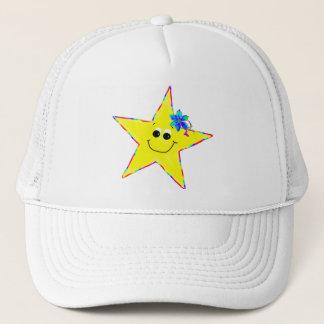 Girls Yellow Smiley Star Cap