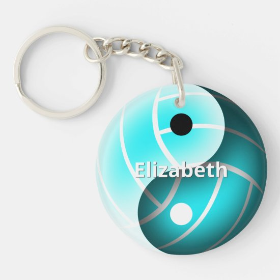 girls yin and yang turquoise volleyball keychain