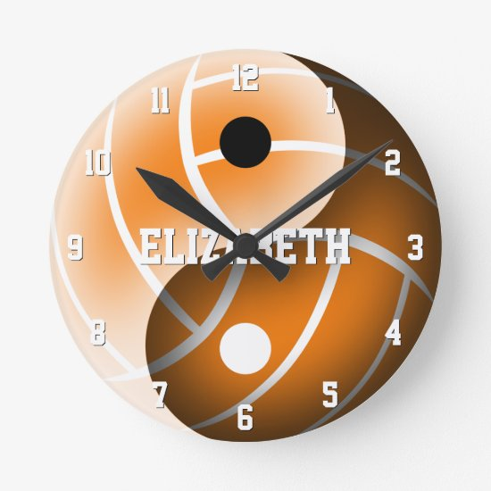 girls yin yang volleyball ANY color personalized Round Clock
