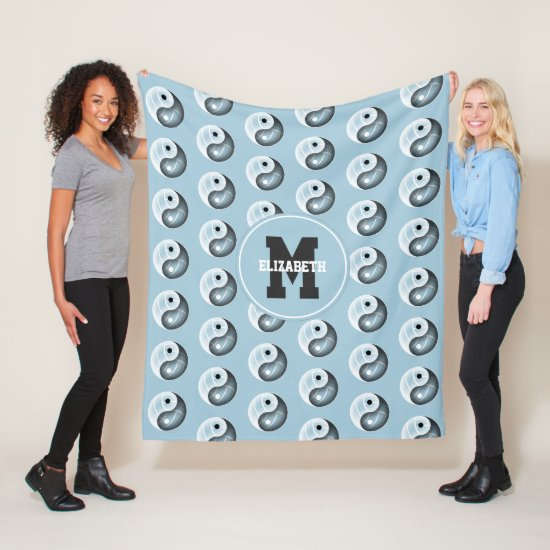 girls yin yang volleyball room blue or ANY color Fleece Blanket