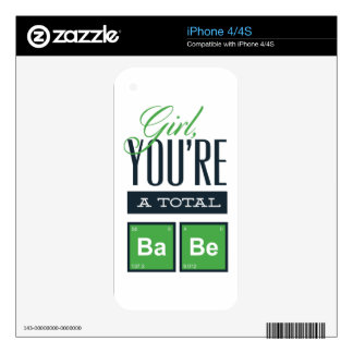girls you are a total babe, cute funny geek design iPhone 4S decal
