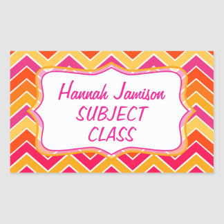 Girls zigzag name class subject label sticker