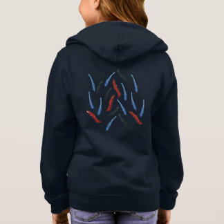 Girls' zip hoodie with watercolor branches