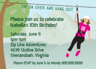 Rock climbing gifts on zazzle girls zip line lining birthday party invites stopboris Gallery