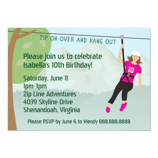 Girls zip line lining birthday party invites zazzle girls zip line lining birthday party invites stopboris Gallery