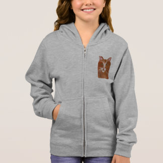 Girl's zip up hoodie featuring a ginger cat face