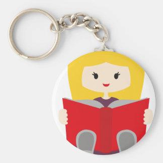 GirlsBookCP1 Basic Round Button Keychain