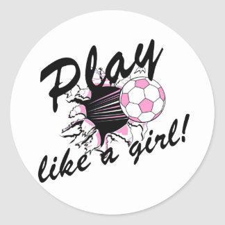 Girls's Soccer T-shirts and Gifts. Classic Round Sticker