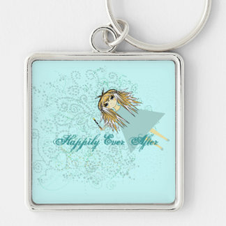 girlwandheartsBlue2 Silver-Colored Square Keychain