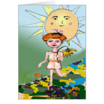 mothers day card, child, girl, sun, happy, innocent, sweet, red hair, ginette, customizable, art, mixed media, original art, Card with custom graphic design