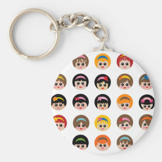 GirlWithHeadband1 Basic Round Button Keychain