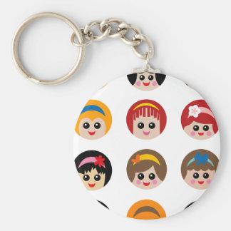 GirlWithHeadband2 Basic Round Button Keychain