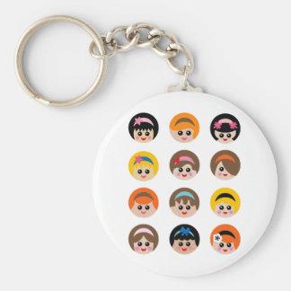 GirlWithHeadband5 Basic Round Button Keychain