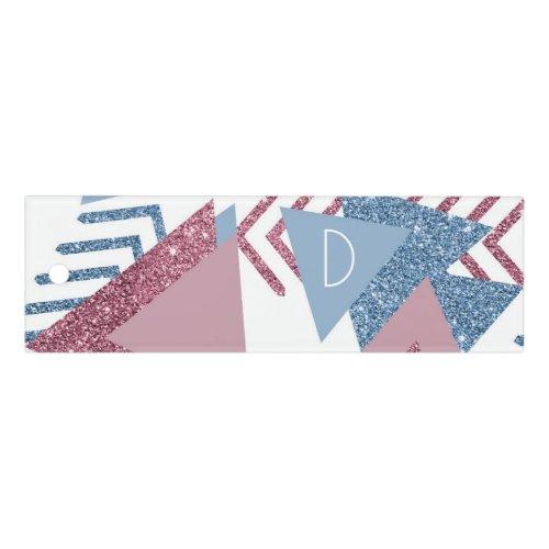 Girly 90s Memphis | Mauve Pink Dusty Blue Monogram Ruler
