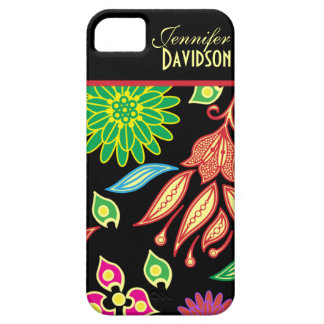 Girly Abstract Black Floral Monogram iPhone5 iPhone SE/5/5s Case