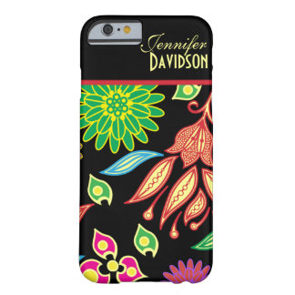 Girly Abstract Black Floral Monogram iPhone 6 case