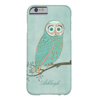 Girly Abstract Modern Teal Green Owl Monogram Barely There iPhone 6 Case