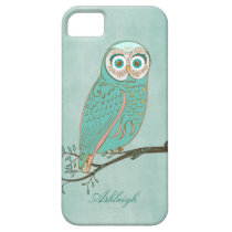 Girly Abstract Modern Teal Green Owl Monogram iPhone SE/5/5s Case