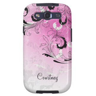 Girly Abstract Pink Black Gray Swirls Galaxy SIII Covers