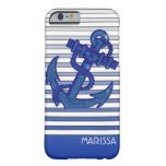 Girly Anchor Nautical Sailing Boat Ombre Stripes iPhone 6 Case