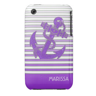 Girly Anchor Nautical Sailing Boat Ombre Stripes iPhone 3 Covers