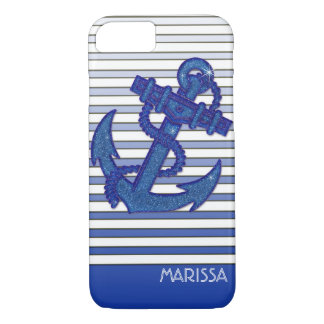 Girly Anchor Nautical Sailing Boat Ombre Stripes iPhone 7 Case