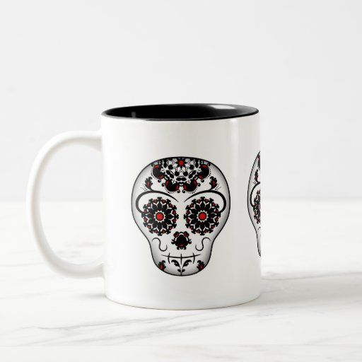 Girly and cute day of the dead sugar skull coffee mugs