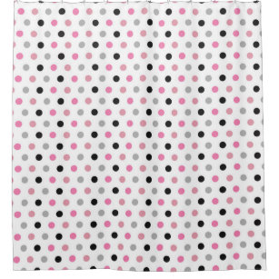 Girly And Cute Pink White Polka Dots Shower Curtain