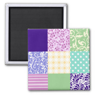 Girly and Fresh Pattern Squares Vector Quilt 2 Inch Square Magnet