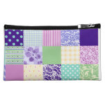 Girly and Fresh Pattern Squares Vector Quilt Makeup Bags