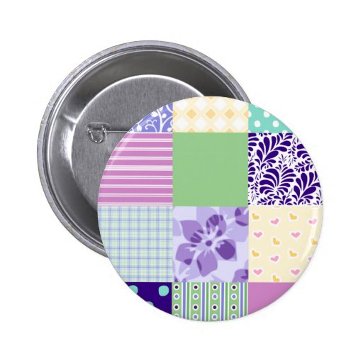 Girly and Fresh Pattern Squares Vector Quilt Button