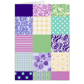 Girly and Fresh Pattern Squares Vector Quilt Card