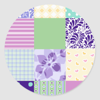 Girly and Fresh Pattern Squares Vector Quilt Classic Round Sticker