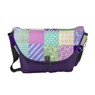 Girly and Fresh Pattern Squares Vector Quilt Courier Bags