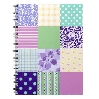 Girly and Fresh Pattern Squares Vector Quilt Notebooks