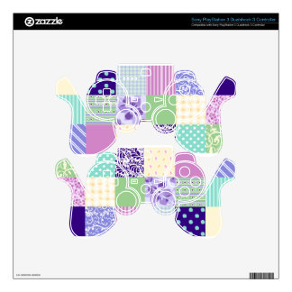 Girly and Fresh Pattern Squares Vector Quilt PS3 Controller Decals