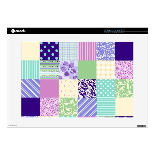 "Girly and Fresh Pattern Squares Vector Quilt Skins For 15"" Laptops"