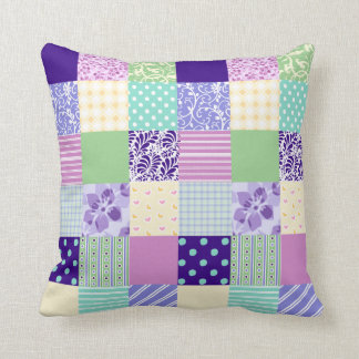 Girly and Fresh Pattern Squares Vector Quilt Throw Pillow